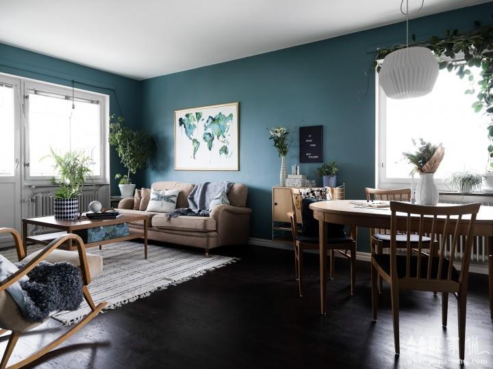 68平米蓝色主题北欧风格三居室公寓装修设计