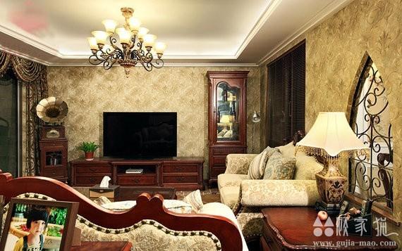 金地国际美式风格装修设计 96平米两室一厅装修