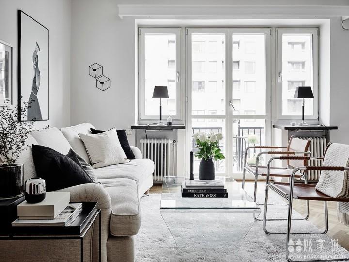 45平米黑白北欧小公寓设计  45平米黑白系装修