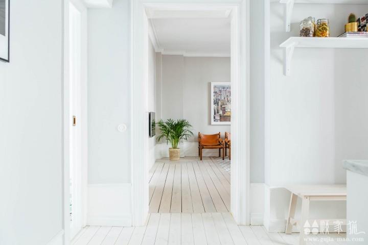 北欧72平米白色三居室公寓装修设计案例