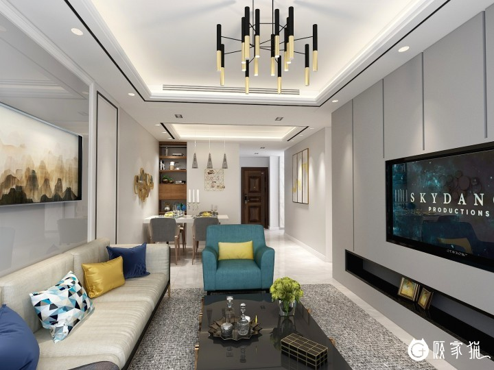 汉嘉国际简约现代风格家庭装修效果图