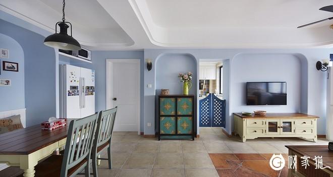 海魂硅藻泥科技 蓝色主调室内装饰涂料 简约风格家装案例