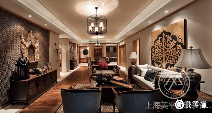119㎡东南亚风格效果图 嘉兴大户型两房东南亚风格装修