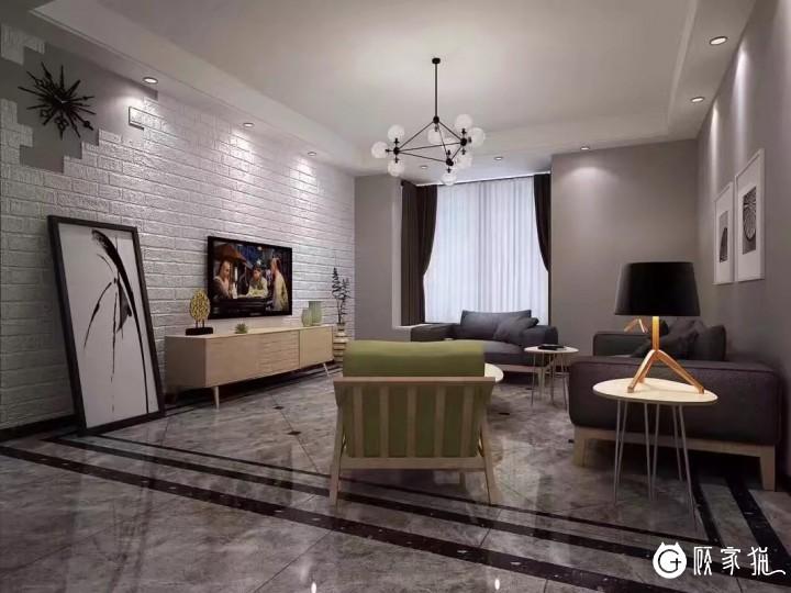 6.2万打造88㎡现代简约的家 成都二居室现代简约装修效果图